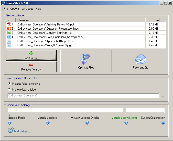 Click to view PowerShrink screenshots